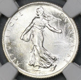 1916 NGC MS 65 France 1 Franc WWI Sower Silver Coin (19032003C)