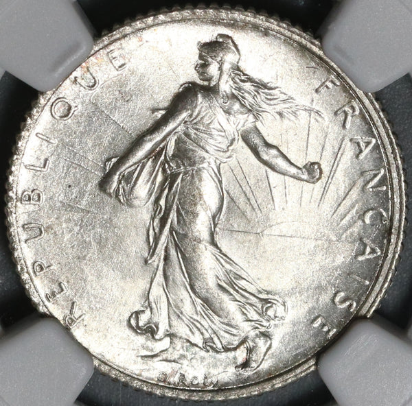 1916 NGC UNC Det France 1 Franc Sower Silver Uncirculated WWI Coin (21021804C)