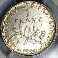 1920 PCGS MS 64 France 1 Franc Sower Silver Mint State Last Year Coin (21021408C)