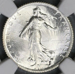 1920 NGC MS 66 France 1 Franc Last Silver Sower Mint State Coin (19062305C)