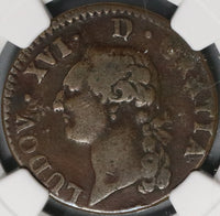 1780-Cow NGC VF 25 France 1 Sol Louis XVI Rare Pau Mint Coin POP 1/0 (18083109C)