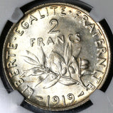 1919 NGC MS 65 France 2 Francs Sower Mint State Silver Coin (17081301D)