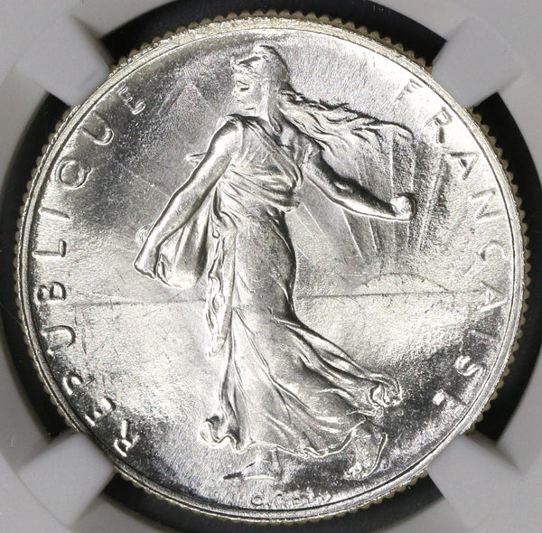 1920 NGC MS 65 FRANCE Semeuse Sower Silver 2 Francs Mint State Coin (19071702C)