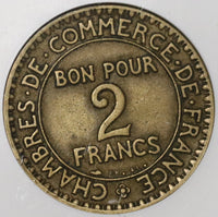 1927 NGC VF 30 France 2 Francs Rare Chamber Commerce Domard Coin (20022802C)