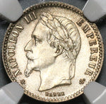 1864-A NGC MS 66 France 50 Centimes Napoleon III Silver Coin POP 1/0 (20030502C)