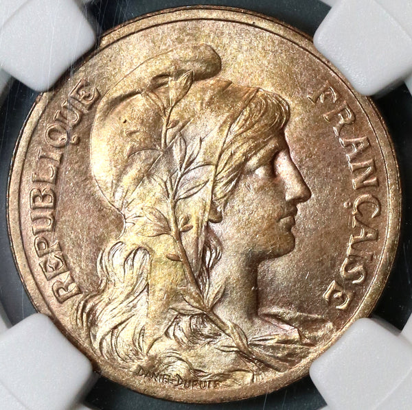 1900 NGC MS 64 RB France 5 Centimes Marianne Mint State Coin (19091301C)