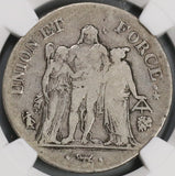 1798 NGC F 15 France 5 francs An 7-L Bayonne Directory Silver Coin (18123002C)