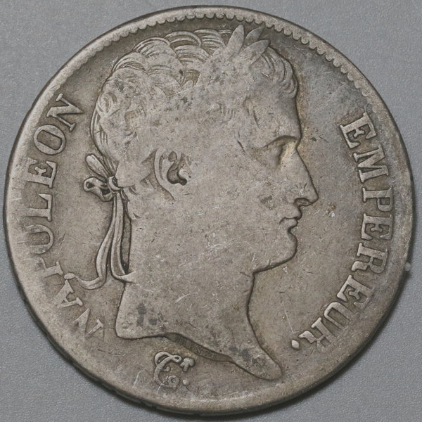 1813-M France 5 Francs Napoleon Emperor Silver Toulouse Crown Coin (20081501R)