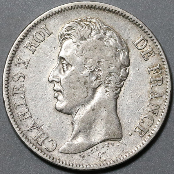 1825-K France 5 Francs Charles X Bordeaux Scarce Silver Coin (20062102R)