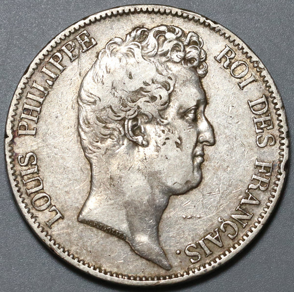 1830-W France 5 Francs No I in King's Title Silver Rare Silver Coin (19100701R)