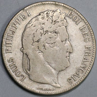 1842-B France 5 Francs Louis Philippe I Silver Crown Rouen Coin (19102104R)