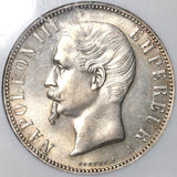 1856-A NGC AU 58  France 5 Francs Napoleon III Silver Empire Coin (21021401C)
