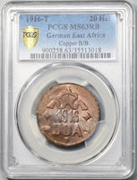 1916-T PCGS MS 63 RB German East Africa 20 Heller Tabora Mint Copper B/B Coin (19020501C)