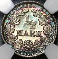 1919-A NGC MS 65 Germany Silver 1/2 Mark Kaiser Reich Berlin Coin (20010903C)