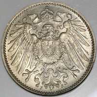 1908-J NGC MS 62 Germany 1 Mark Rare Hamburg Mint State Silver Coin POP 1/1 (20050301C)