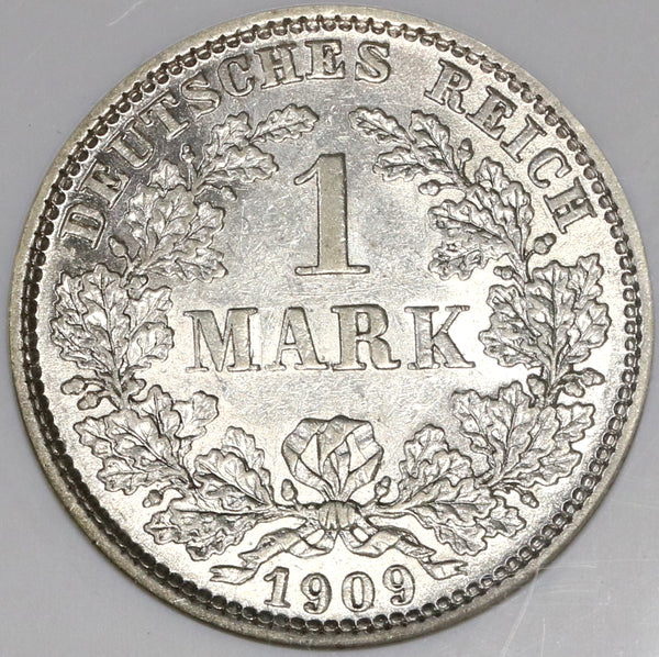 1909-E NGC AU 58 Germany 1 Mark Rare Muldenhutten Silver Coin POP 3/1 (19060303C)