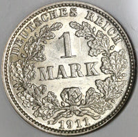 1911-J NGC MS 62 Germany 1 Mark Rare Hamburg Mint State Silver Coin (20071602C)