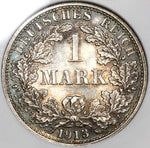 1913-F NGC MS 63 Germany 1 Mark Kaiser Reich Empire Silver Coin (19051402C)