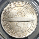 1930-F PCGS MS 65+ Zeppelin World Flight Germany 5 Mark Silver Commemorative Coin (19121701D)