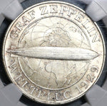 1930-F NGC MS 66 Zeppelin World Flight Germany 5 Mark Silver Coin 40K (20052003C)