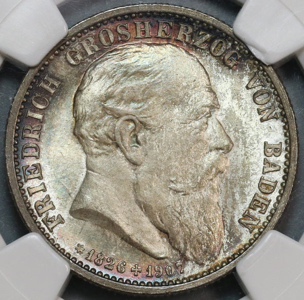 1907 NGC MS 66 Baden 2 Mark Friedrich Death Silver German State Coin (19090902C)