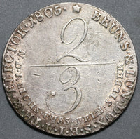 1805 Brunswick Luneburg 2/3 thaler George III Hannover Silver Coin (20022301R)