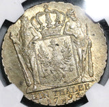 1793-E NGC MS 62 Prussia Thaler Mint State Silver Konigsberg Coin POP 2/0 (20071801D)