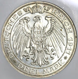 1911 NGC MS 64  Prussia 3 Mark Breslau University German Silver Coin (20021504C)