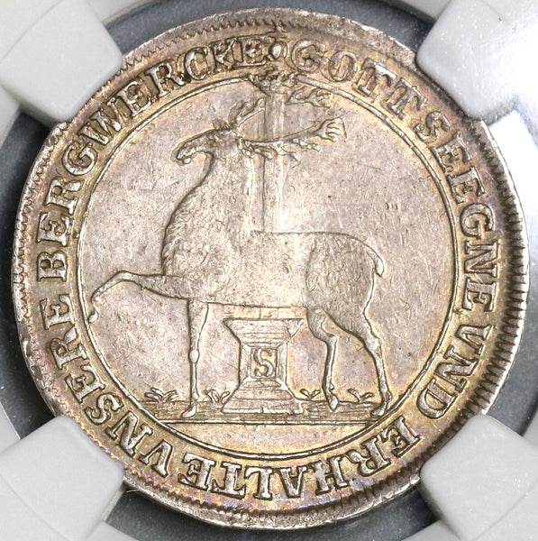 1777 NGC AU 58 Stolberg 1/3 Thaler Stag German State Silver Coin (17061501D)