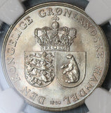 1960 NGC MS 65 Greenland Polar Bear 1 Krone Royal Greenland Co Coin (19091301D)
