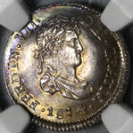 1814 NGC MS 64 Guatemala 1/2 Real Spain Colony Mint State Silver Coin (20051202C)