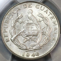 1946 PCGS MS 62 Guatemala 1/4 Quetzal Bird Silver Mint State Coin (19090506D)