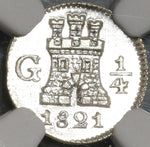 1821 NGC MS 66 Guatemala 1/4 Real Spain Colony Silver Coin (20061003C)