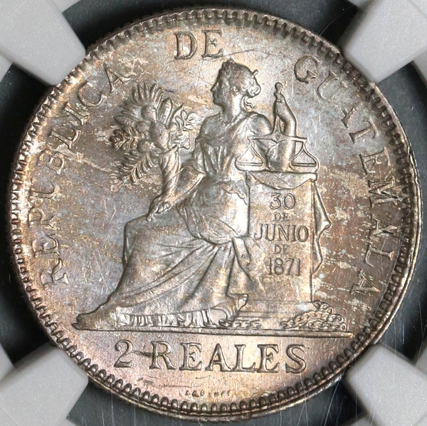 1895 NGC MS 64 Guatemala 2 Reales Mint State Silver Coin POP 2/0 (20121101C)