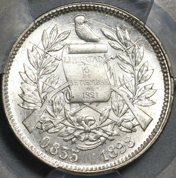 1898 PCGS MS 64 Guatemala Silver 2 Reales Quetzal Bird Justice Coin (21032102C)