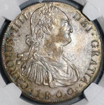 1800 NGC AU 58 Guatemala 8 Reales Spain Colony Mint Silver Coin (21030101C)