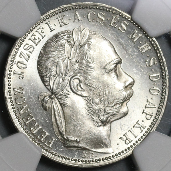 1888 NGC MS 63 Hungary 1 Forint Silver Austria St Stephen Crown Coin (21020503C)