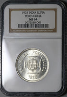 1935 NGC MS 64 India 1 Rupia Portugal Colony Silver Coin (20090701C)