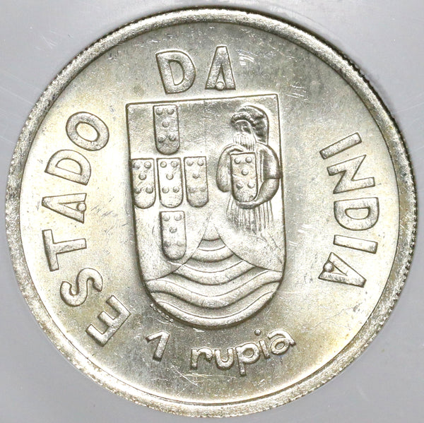 1935 NGC MS 64 India 1 Rupia Portugal Colony Silver Coin (20021501C)