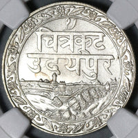 1928 NGC MS 64 Mewar Silver Rupee VS 1985 India State Coin (21020602C)