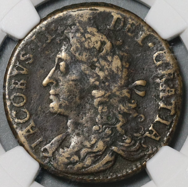 1690 NGC F Det James II Ireland 1/2 Crown October Gun Money Coin (21020205C)