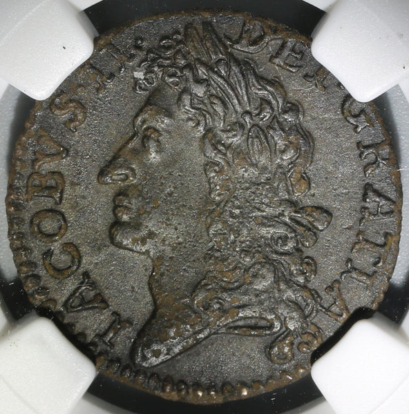 1689 NGC XF 45 James II Ireland Shilling November Gun Money Coin (19101401C)
