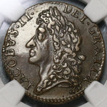 1689 NGC AU 50 James II Ireland Shilling October Gun Money Rebellion Coin (19102501C)