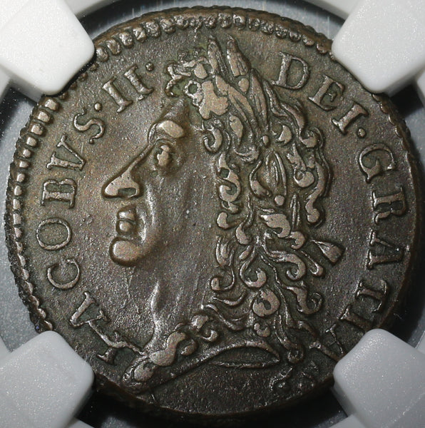 1690 NGC XF 45 James II Ireland Shilling April Gun Money Rebellion Coin (19102502C)