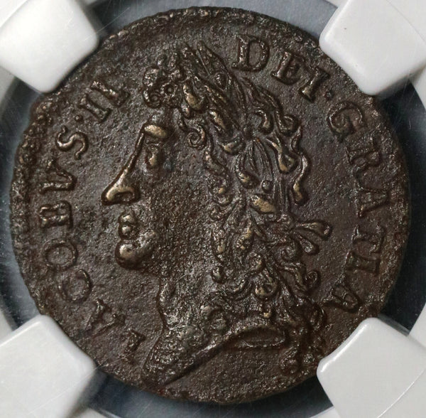 1690 NGC AU 50 James II Ireland Shilling March Gun Money Rebellion Coin (19102503C)