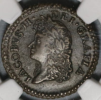 1690 NGC AU 53 James II Ireland Shilling Gun Money May Rebellion Coin (20012703C