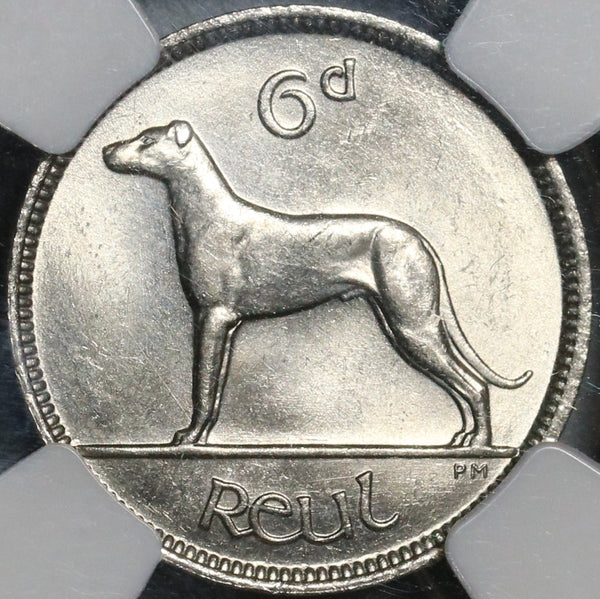 1935 NGC MS 64 Ireland 6 pence Wolfhound Eire Irish Free State Coin (21032902C)