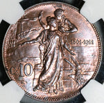 1911 NGC MS 64 Italy 10 Centesimi Kingdom Anniversary Mint State Commemorative Coin (20081801C)