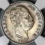 1900 NGC MS 65 Italy 1 Lira Umberto I Silver Mint State Coin (20111202C)