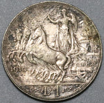 1910 Italy 1 Lira AU Horses & Chariot Silver Coin (20072701R)